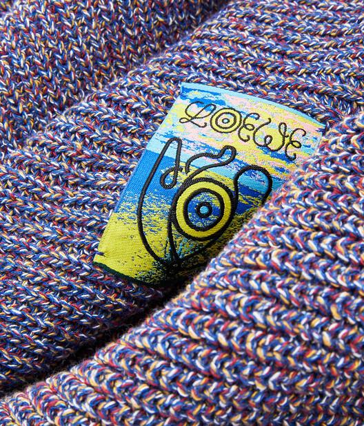 LOEWE Eln Melange Knit Scarf Navy Blue front