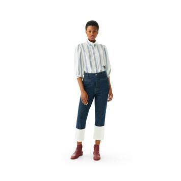 LOEWE Stripe Silk Short Slv Blouse ネイビー/ホワイト front