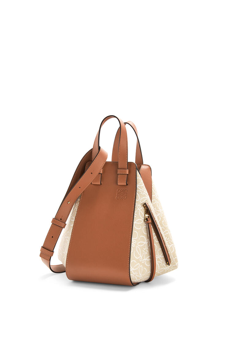 LOEWE Small Hammock bag in Anagram jacquard and calfskin Ecru/Tan pdp_rd
