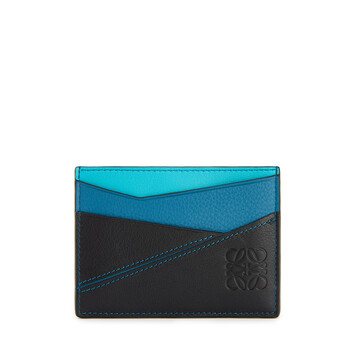 LOEWE Puzzle Plain Cardholder Dark Lagoon/Black front