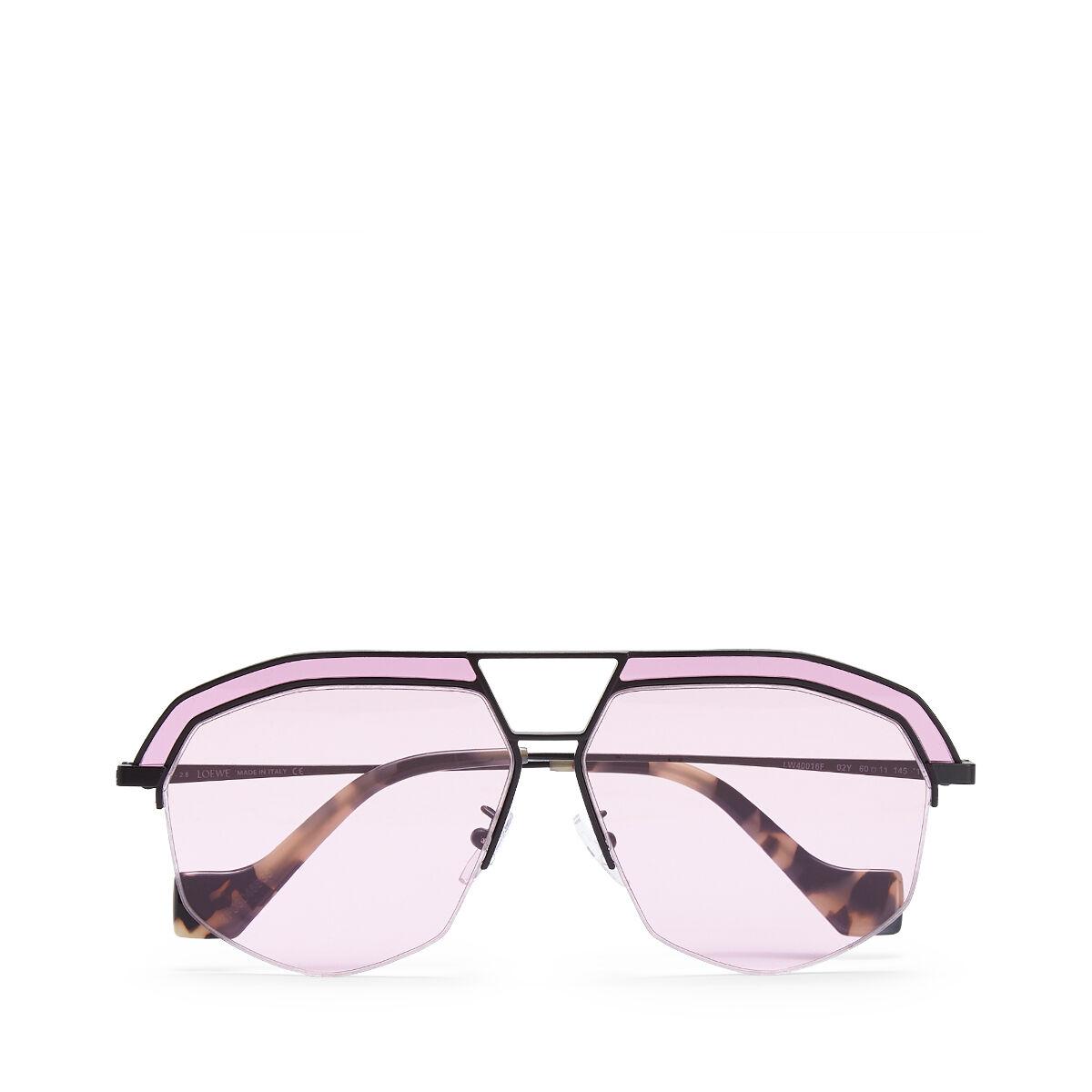 LOEWE Gafas Geometricas Negro Mate/Rosa front