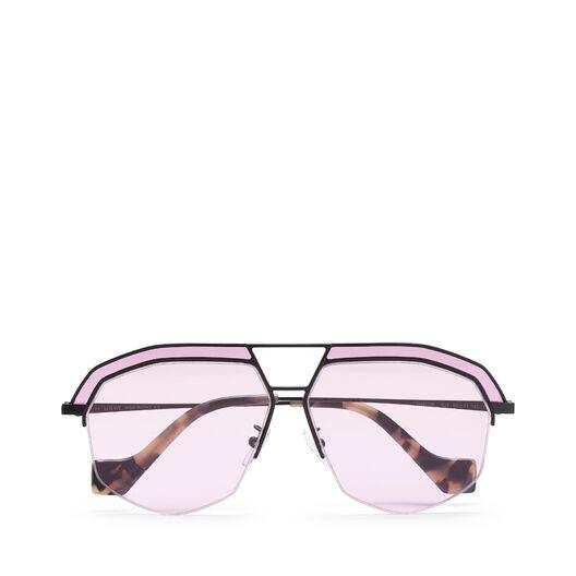 LOEWE Geometrical Sunglasses Matte Black/Pink front