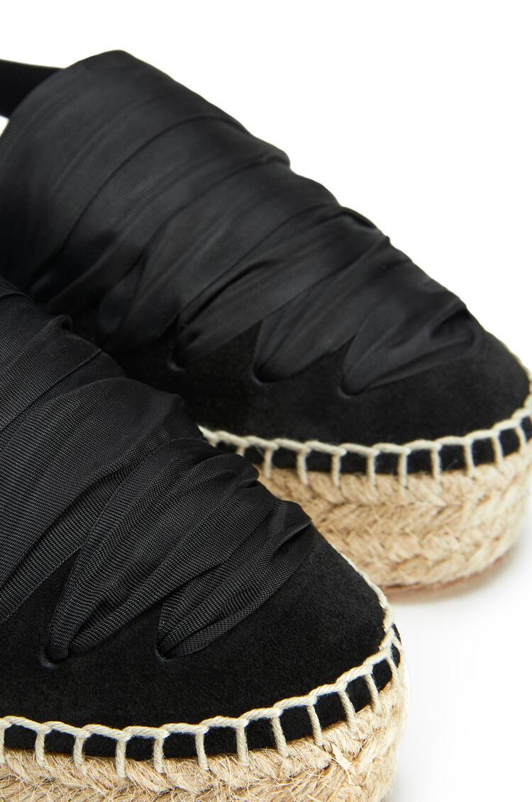 LOEWE 二层小牛皮坡跟缎带草鞋 黑色 pdp_rd
