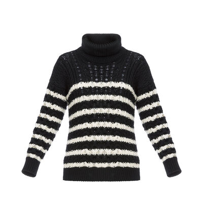 LOEWE Stripe Cable Knit Sweater Black/White front