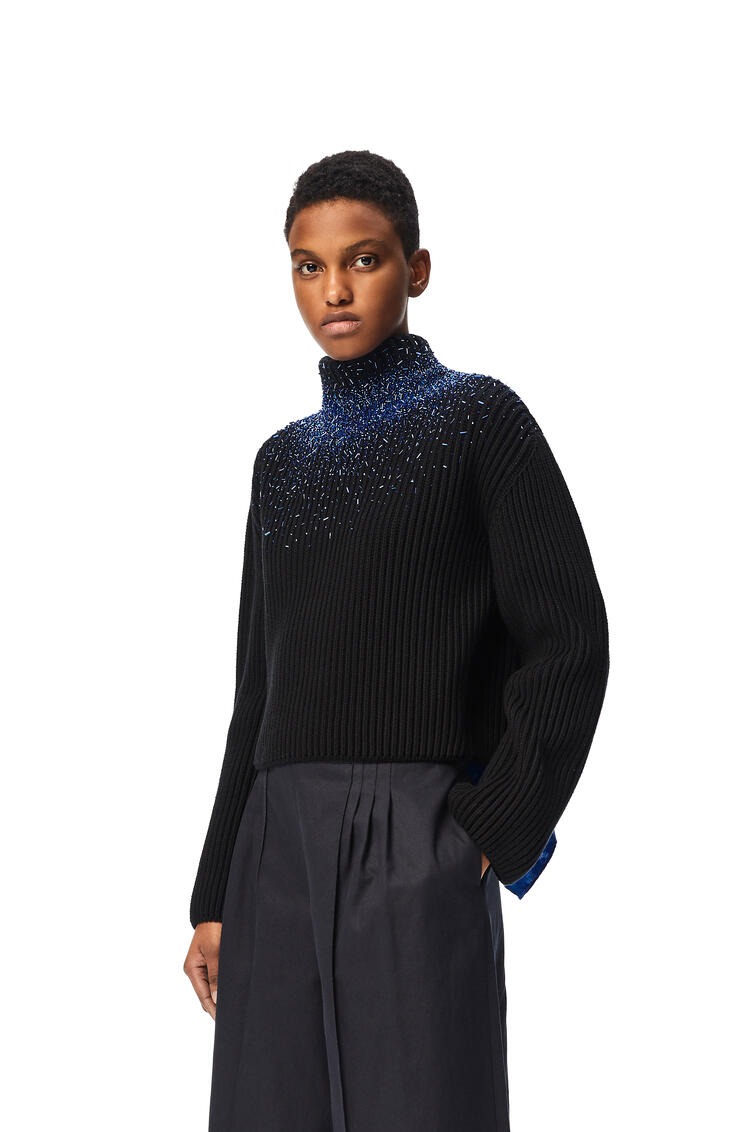 LOEWE Embellished scarf sweater in cotton Black pdp_rd
