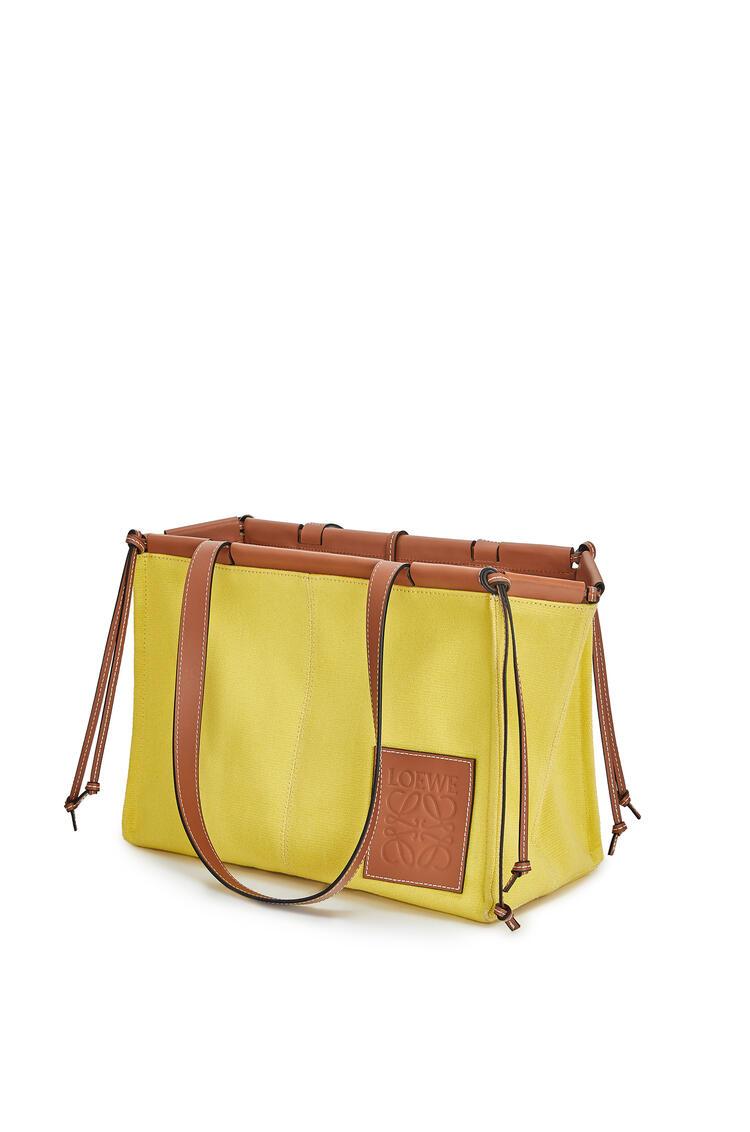 LOEWE 小号帆布和小牛皮 Cushion Tote 手袋 黄色 pdp_rd
