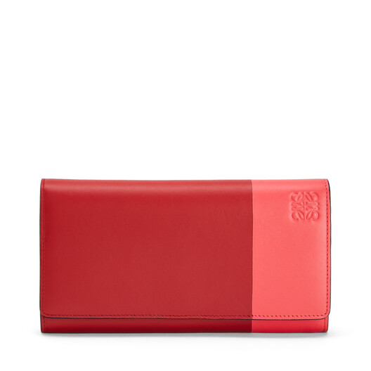 LOEWE Color Block Continental Wallet Pomodoro/Poppy Pink front
