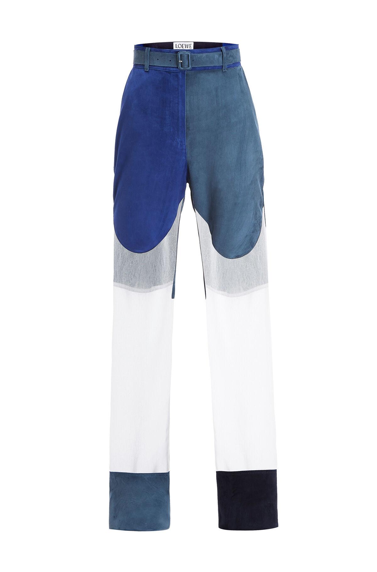 LOEWE Trousrs Suede Panels & Textile Blue/White front