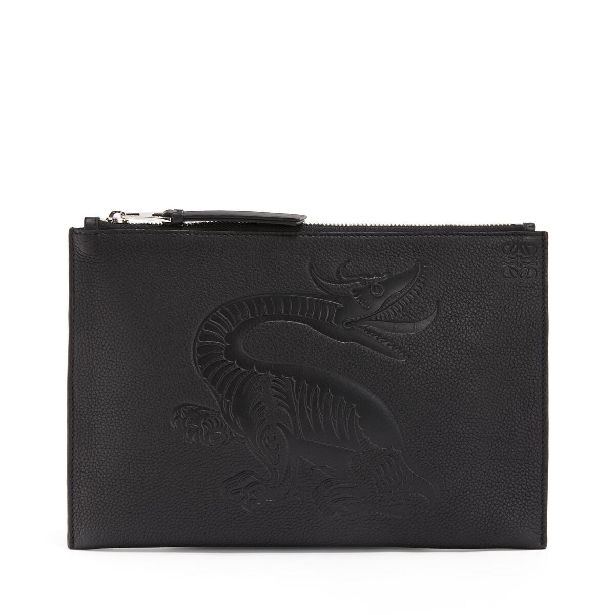 LOEWE Flat Pouch Dragon Black front