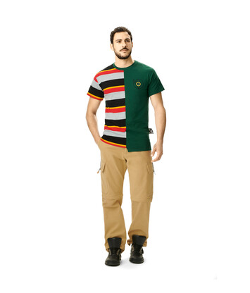 LOEWE Eln Stripe Asymmetric T-Shirt Forest Green/Multicolor front