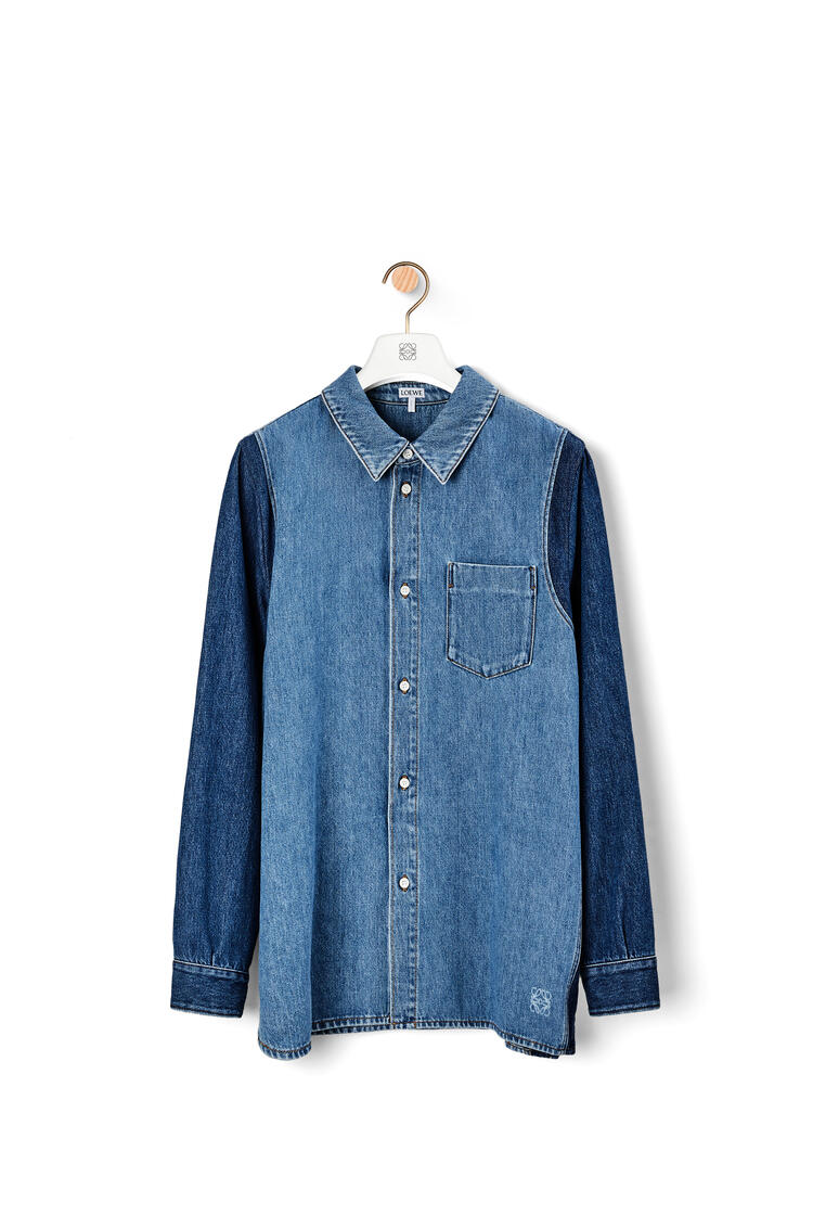 LOEWE Denim overshirt in cotton Blue/White pdp_rd