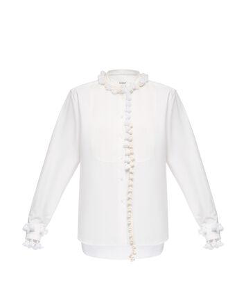 Mao Collar Bib Shirt Pompons