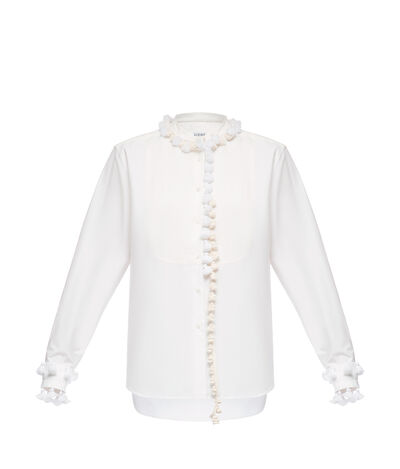 LOEWE Mao Collar Bib Shirt Pompons White front