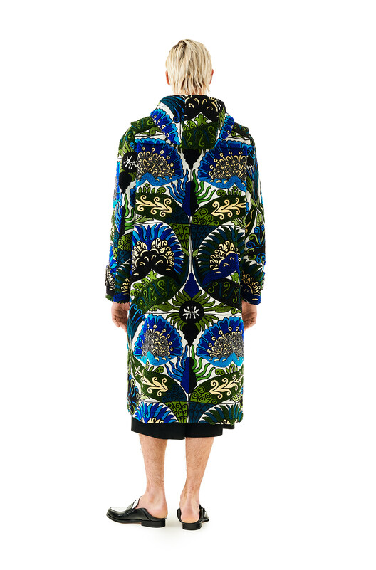 LOEWE Embroidrd Duffle Coat Flowers Blue/Green front