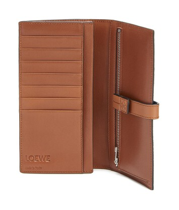 LOEWE Large Vertical Wallet Steel Blue/Tan front