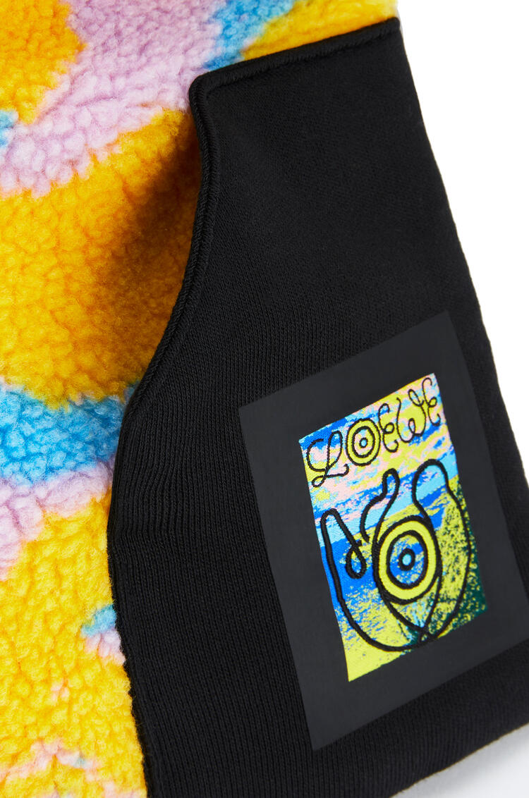 LOEWE 16 x 90 cm fleece puffed scarf in polyester and cotton Multicolor/Grey pdp_rd