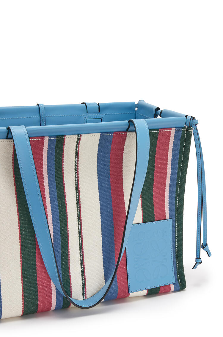 LOEWE Cushion Tote Bag In Canvas And Calfskin Sky Blue/Multicolor pdp_rd