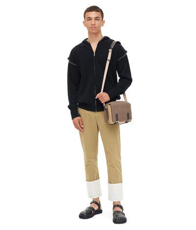 LOEWE Zip Hoodie Blanket Stitch Black front