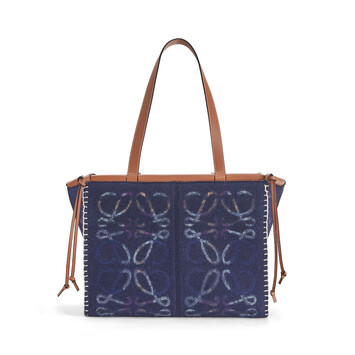 LOEWE Cushion Tote Anagram Navy Blue front