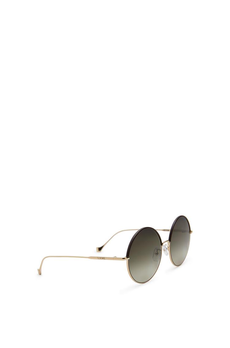 LOEWE Round Sunglasses in metal and calfskin Brown/Khaki Green pdp_rd