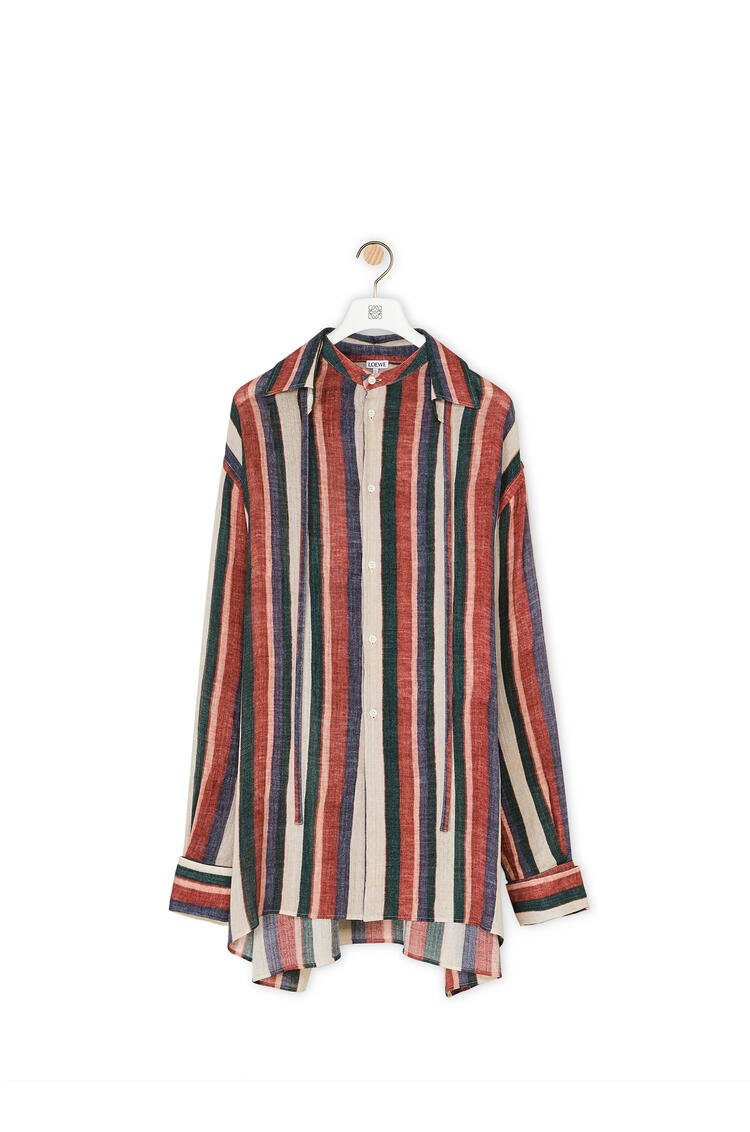 LOEWE Detachable collar shirt in striped cotton Pink/Strawberry/Blue pdp_rd