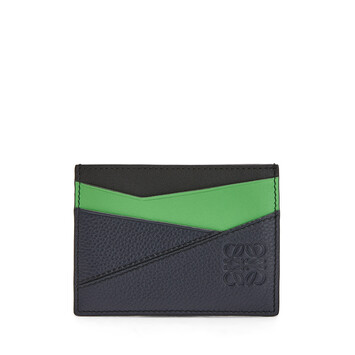 LOEWE Tarjetero Plano Puzzle Azul Profundo/Verde front