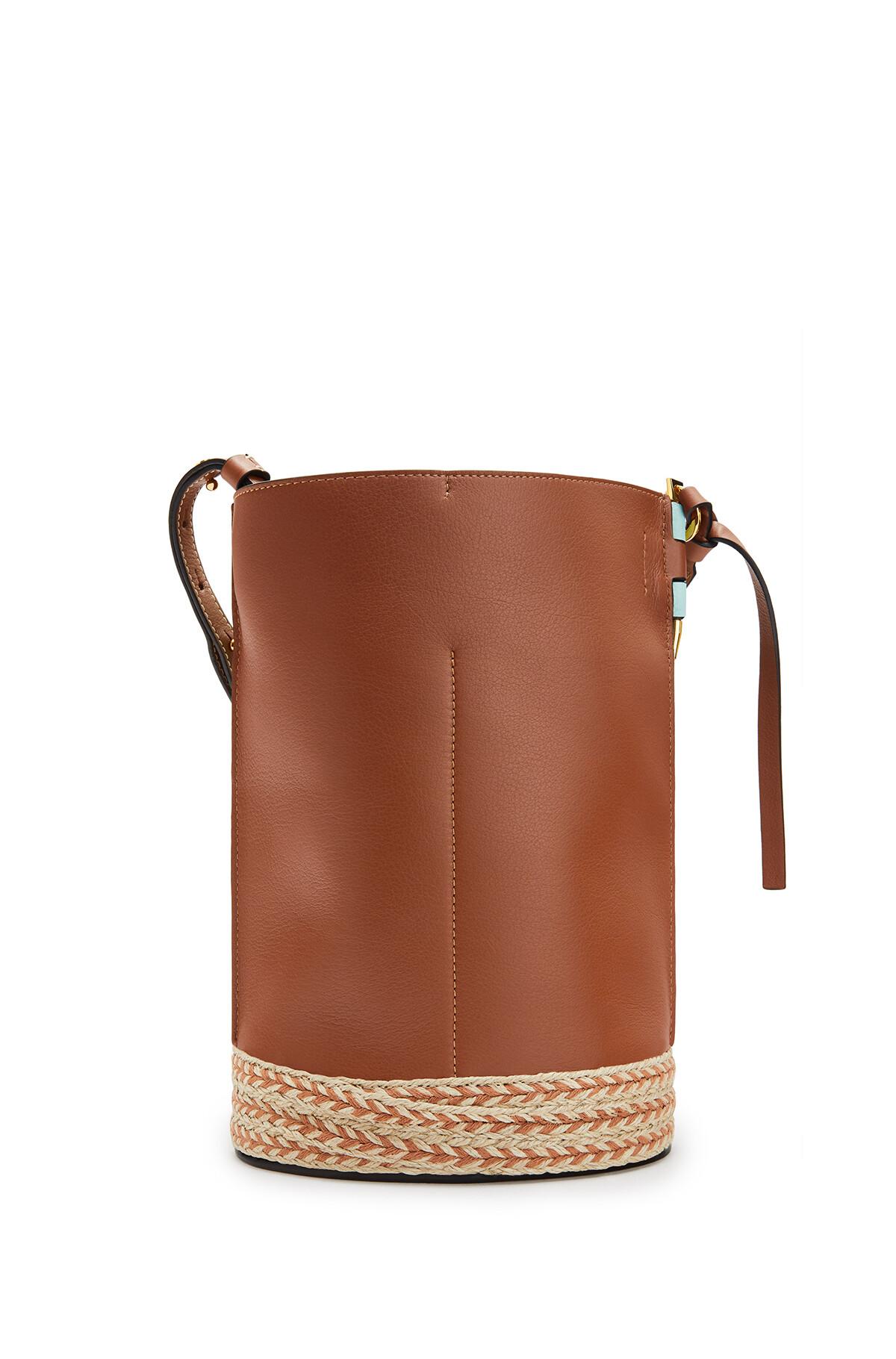 LOEWE Gate Bucket Bag In Raffia And Soft Grained Calfskin Mint/Tan front