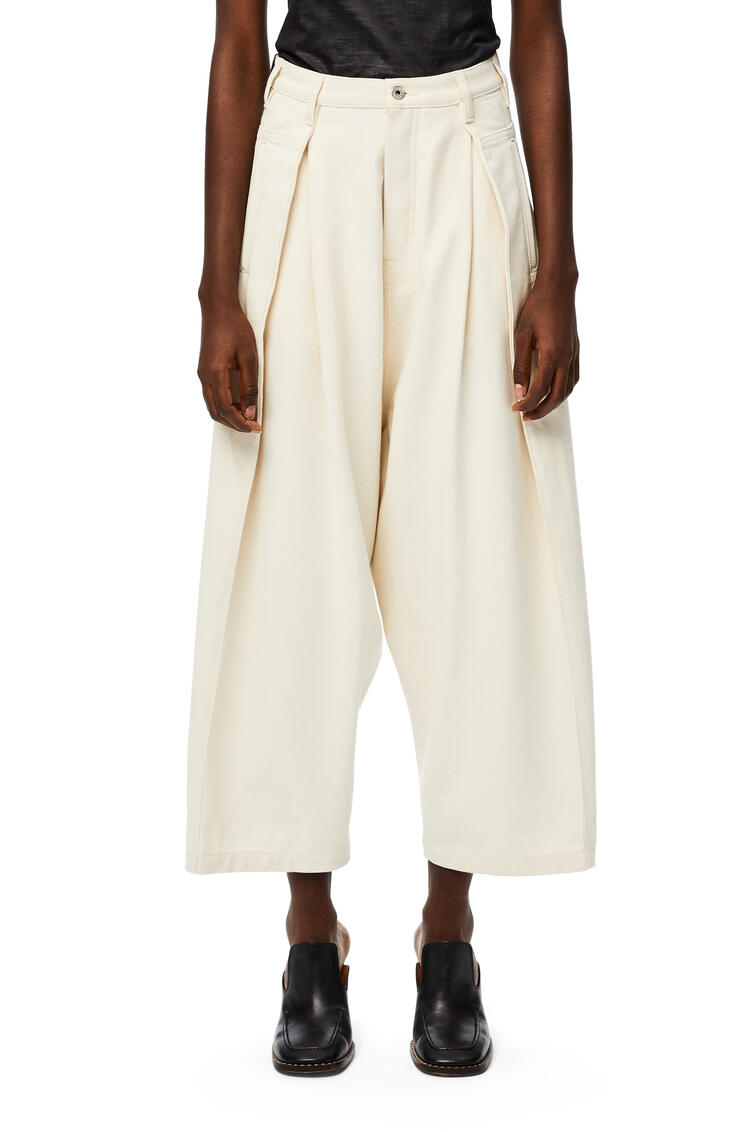 LOEWE High waisted cropped oversize jeans in denim Ivory pdp_rd