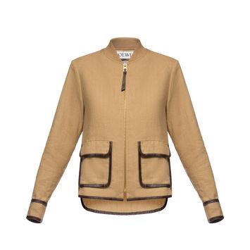 LOEWE Patch Pocket Zip Jacket Beige front