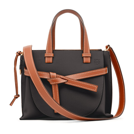 LOEWE Gate Top Handle Pequeño Negro/Color Pecana front
