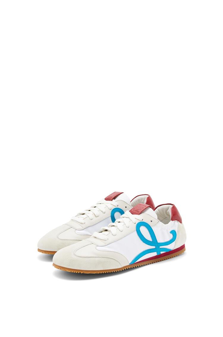 LOEWE Ballet runner in nylon and calfskin Soft White/Lagoon Blue/Red pdp_rd