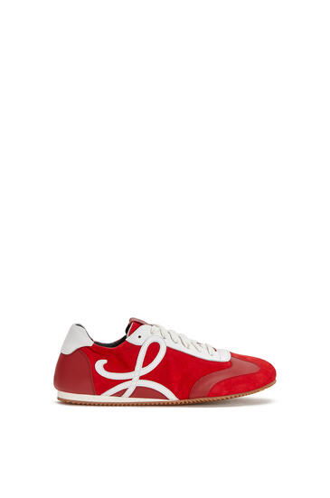 LOEWE Zapatilla Ballet runner en ante y piel fina Rojo/Blanco pdp_rd