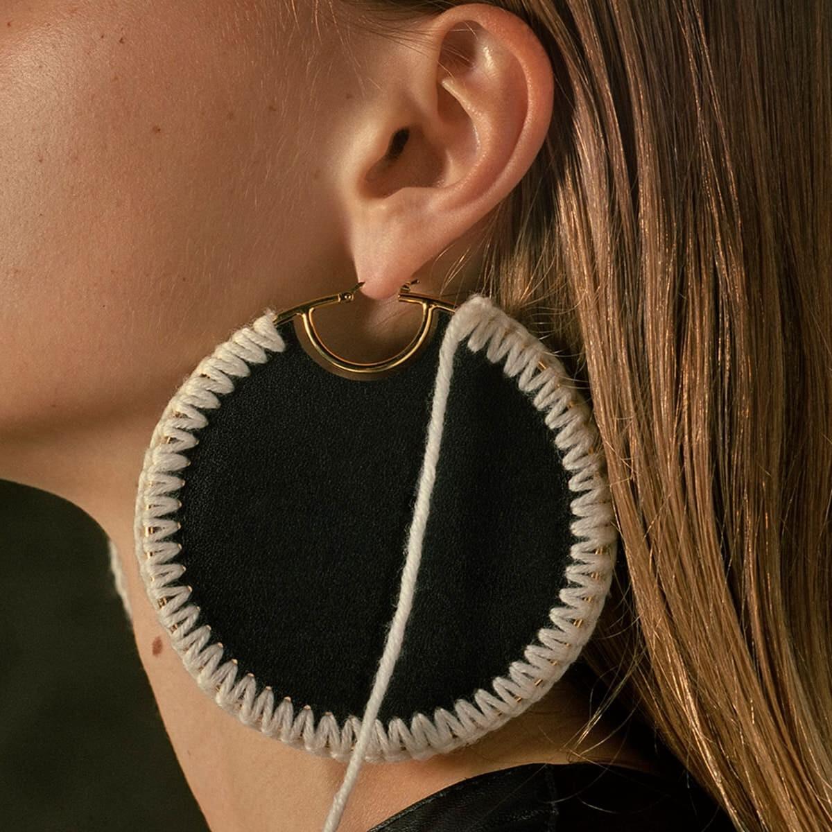 LOEWE Macrame Earrings Black/Gold front