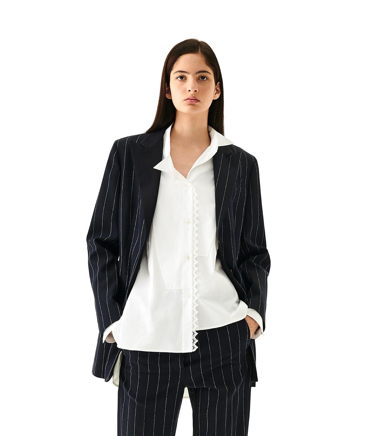 LOEWE Stripe Tuxedo Jacket 亞麻色/海軍藍 front