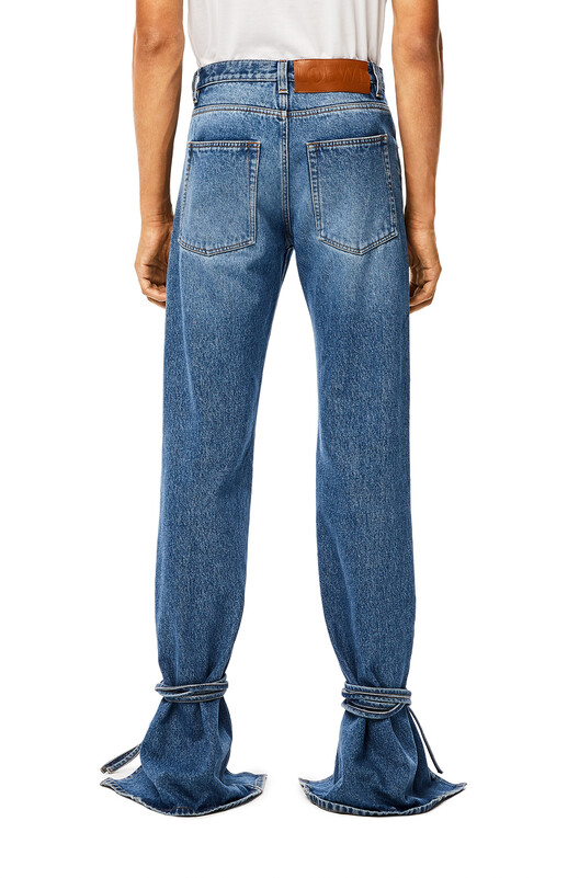 LOEWE Tie Cut Panel Denim Trousers Blue front