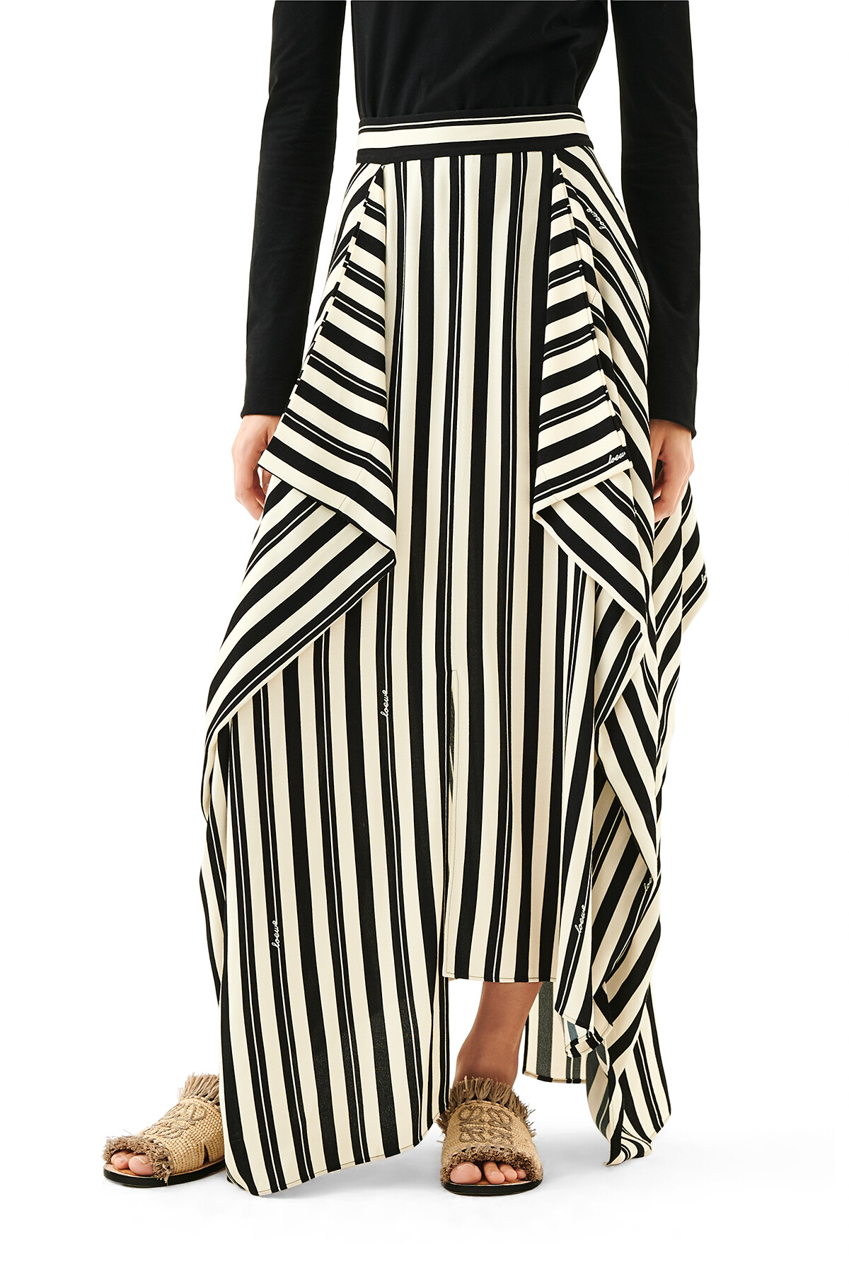 LOEWE Stripe Panel Skirt Ecru/Black front