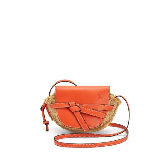 LOEWE Mini Gate Bag Orange/Natural front