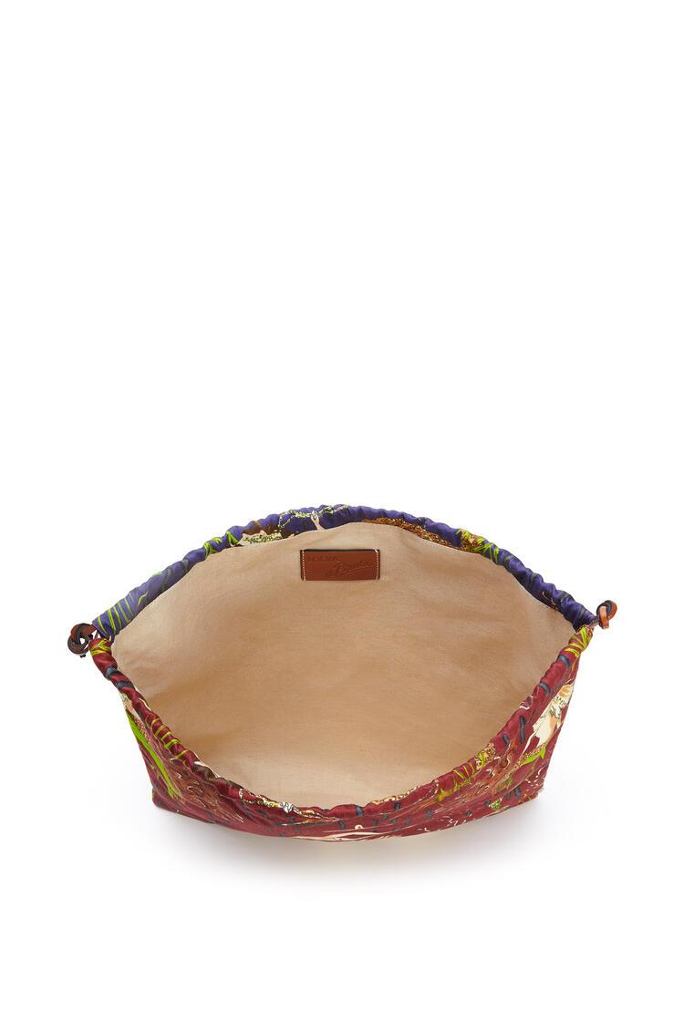 LOEWE Drawstring pouch in printed canvas Burgundy/Marine pdp_rd
