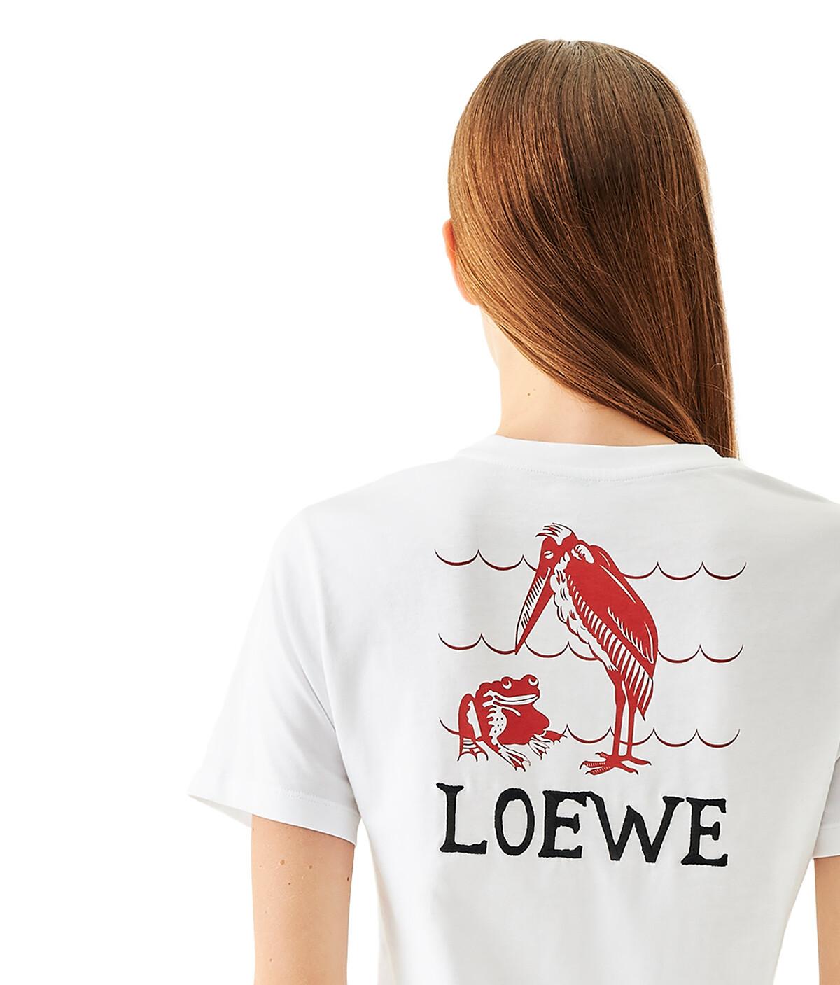 LOEWE T-Shirt Loewe Animals Embroidered White front