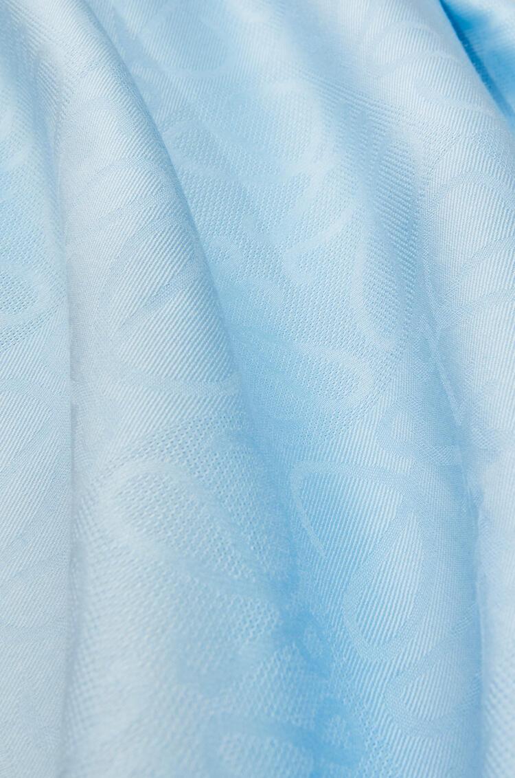 LOEWE Damero scarf in wool, silk and cashmere Dark Sky-blue pdp_rd