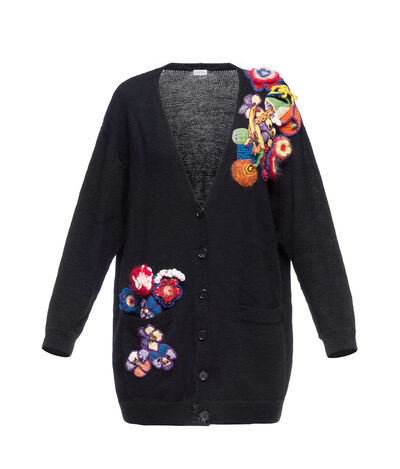 LOEWE Ov Cardigan Bouquet Black/Multicolor front