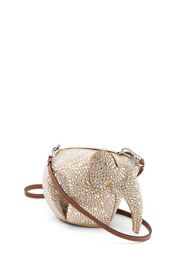 LOEWE Mini Elephant bag in suede and strass Gold/Crystal pdp_rd