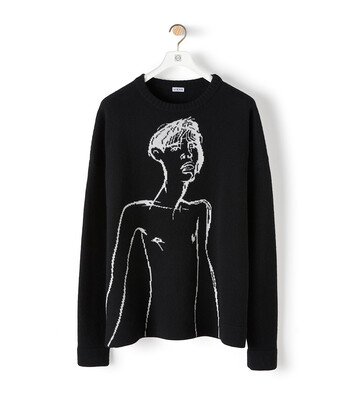 LOEWE Portrait Jacquard Sweater Black/White front