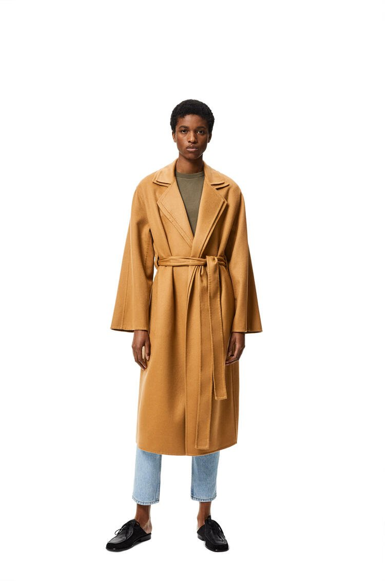 LOEWE Double layer belted coat in wool and cashmere Camel pdp_rd
