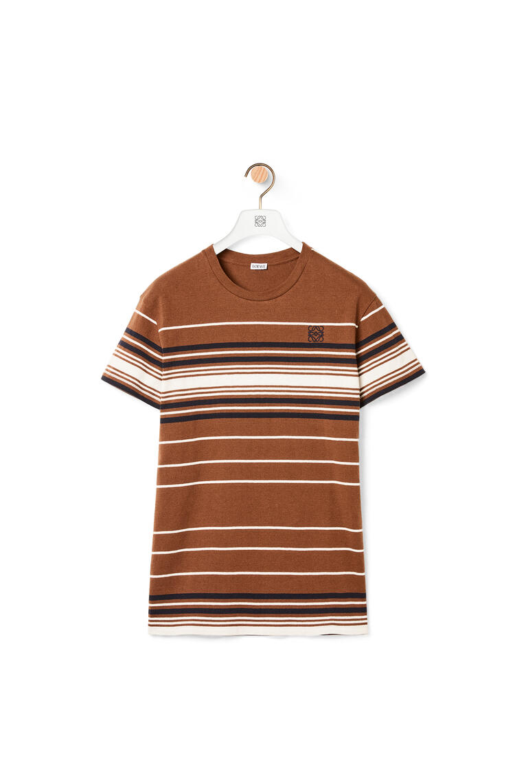 LOEWE Anagram embroidered T-shirt in striped cotton Brown pdp_rd