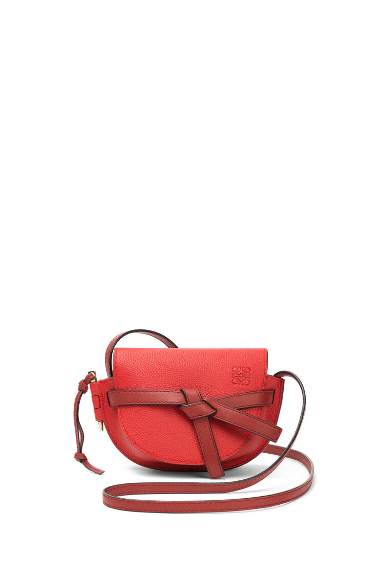 LOEWE Mini Gate bag in soft grained calfskin Scarlet Red/Burnt Red pdp_rd