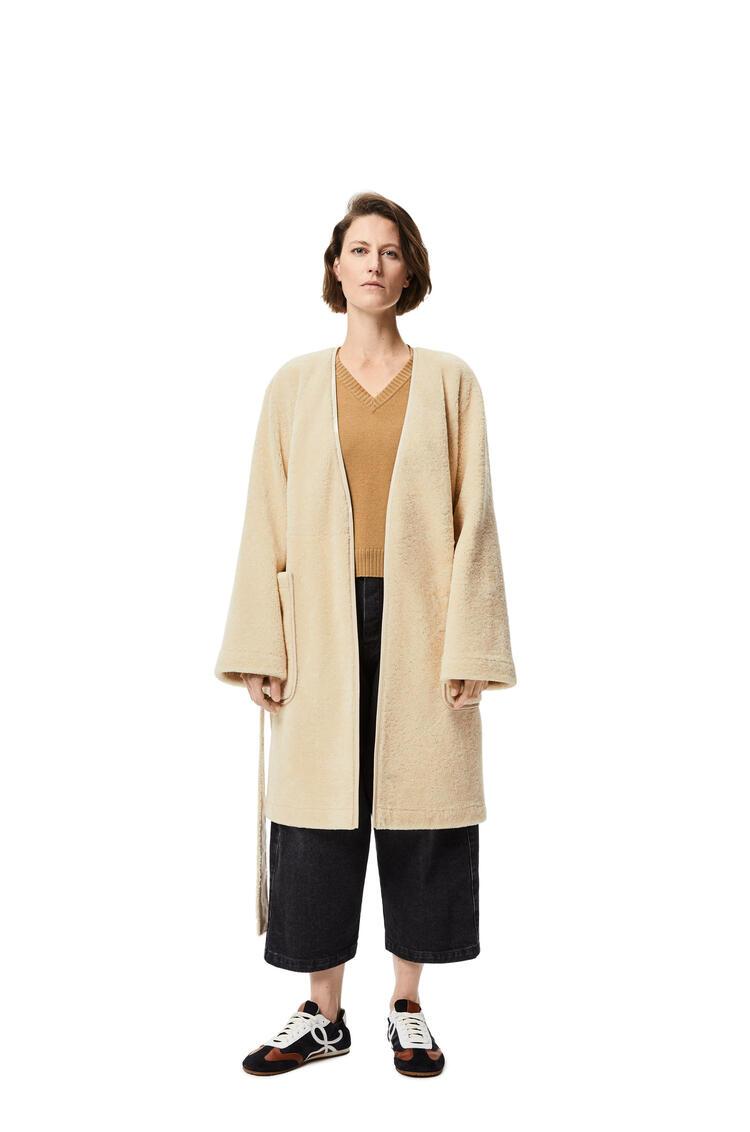 LOEWE Collarless wrap coat in shearling Cream/Blue/Purple pdp_rd