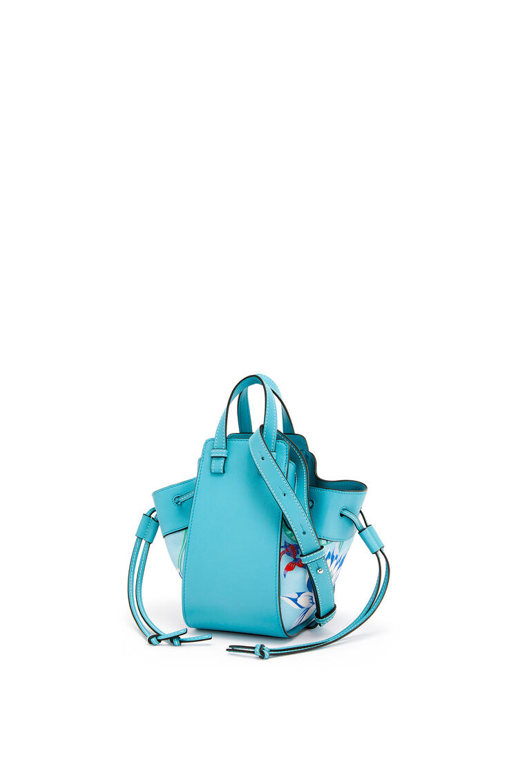 LOEWE Mini Hammock drawstring bag in calfskin and printed canvas Light Blue/Aqua pdp_rd