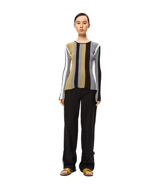 LOEWE Ribbed Stripe Knit Top Blanco/Verde Kaki front