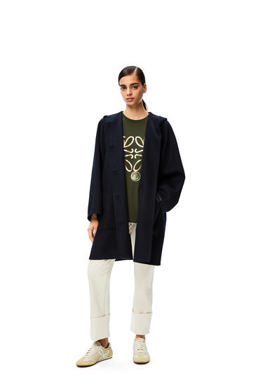 LOEWE Hooded coat in wool and cashmere 海军蓝 pdp_rd